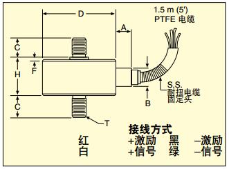 LCFD/LCMFD稱重傳感器 尺寸及接線圖