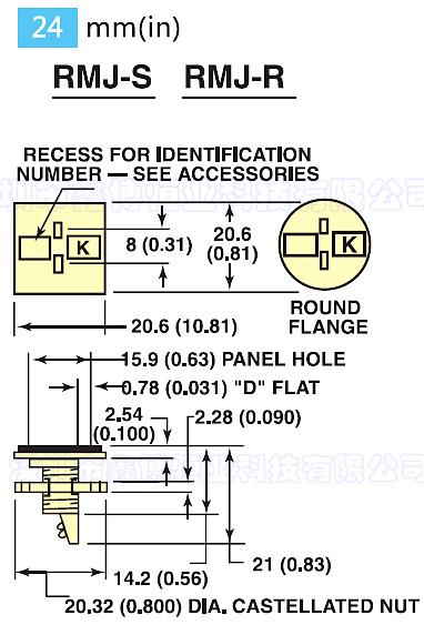 RMJ面板式热电偶插座 尺寸