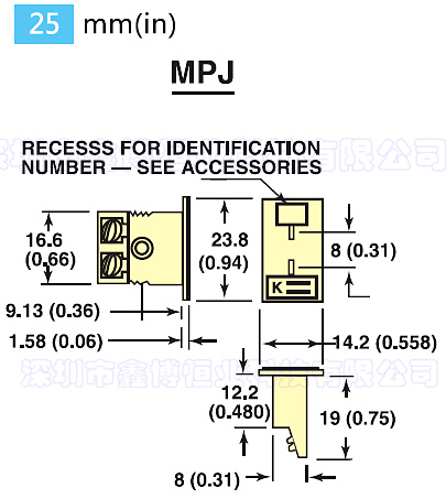 MPJ-(*)-F面板式熱電偶插座 尺寸