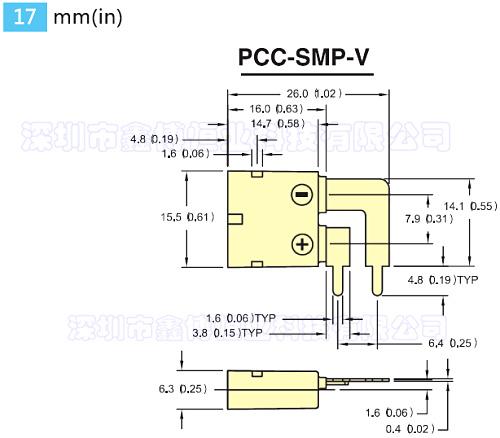 PCB线路板用热电偶插座 尺寸图