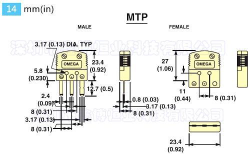MTP系列三腳熱電偶連接器 尺寸圖