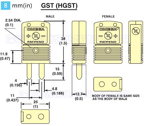 HGST抗干擾熱電偶連接器 尺寸圖