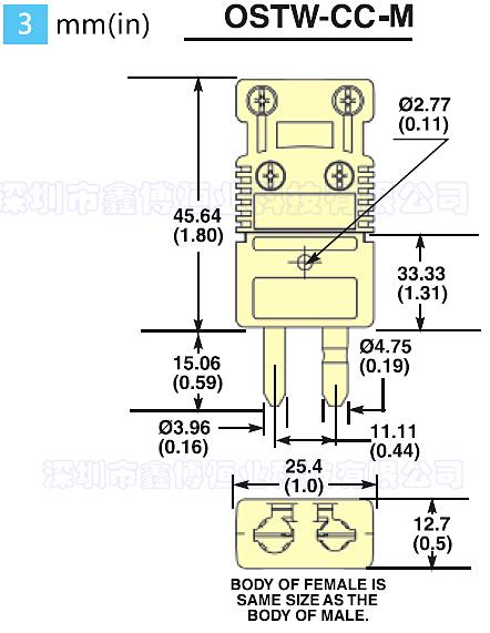 OSTW-CC系列带尾夹热电偶连接器 尺寸图