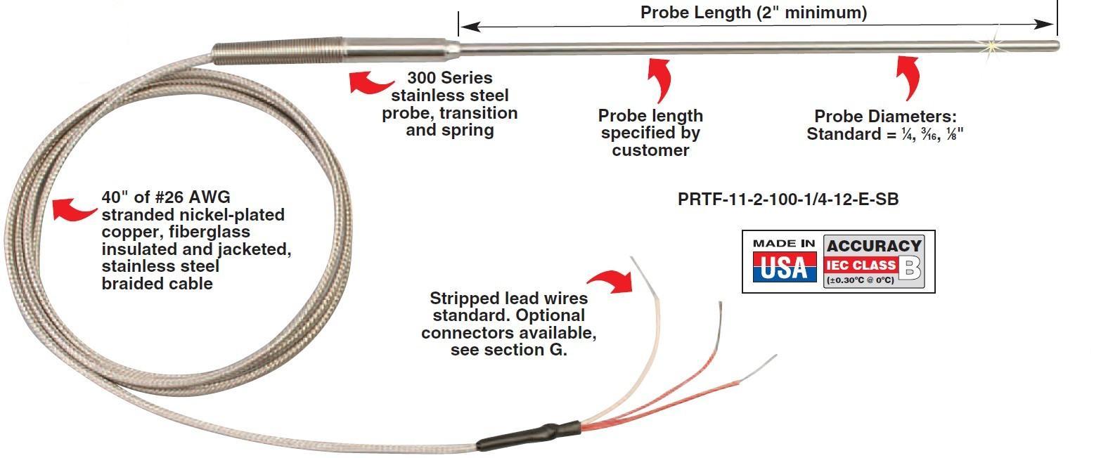 PRTF-11-SB 内玻璃纤维绝缘和外不锈钢编织屏蔽护套电缆输出引线