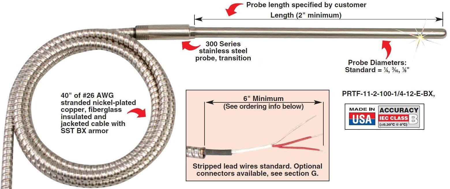 PRTF-11-BX 内玻璃纤维绝缘和外柔性铠甲电缆输出引线