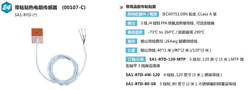 SA1-RTD带粘贴热电阻传感器 A级精度