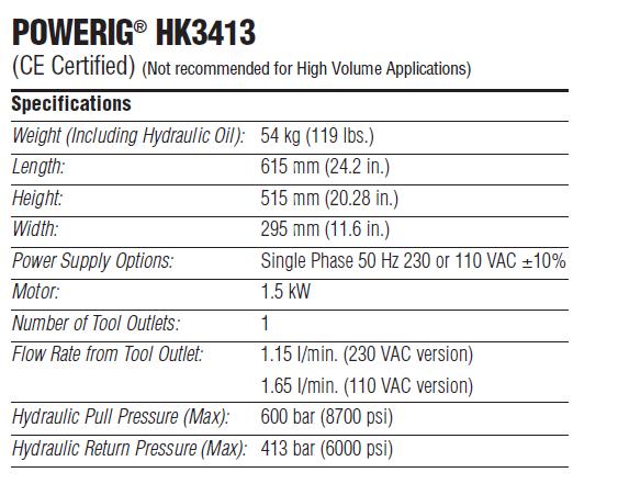 HUCK哈克HK3413 液压站技术参数—韦德科技0755-2665 6615