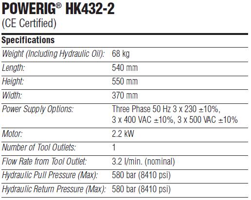 HUCK HK432-2 液压站技术参数—韦德科技0755-2665 6615