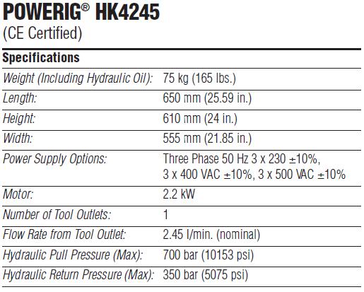 POWERIG® HK4245 液压站技术参数—韦德科技0755-2665 6615