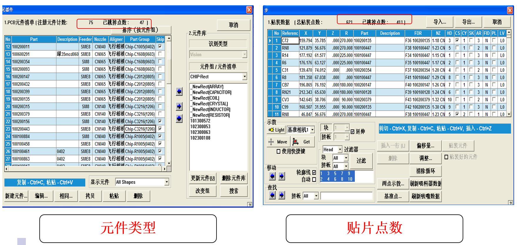 韩华SM471/SM481/SM482-元件类型与贴片点数的比例分配