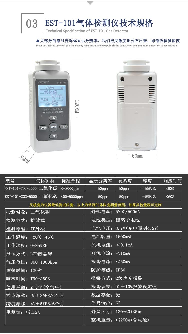 二氧化碳检测仪技术参数