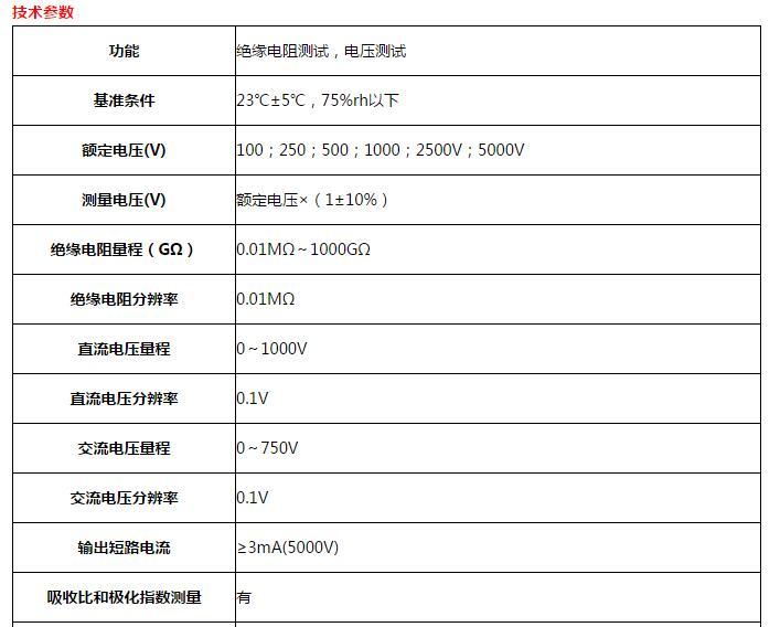 SHSG-5KV数字式高压绝缘电阻表技术参数
