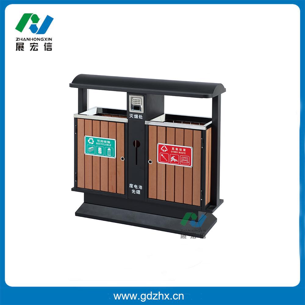 分类环保垃圾桶(咖啡色塑木、GPX-165AS)