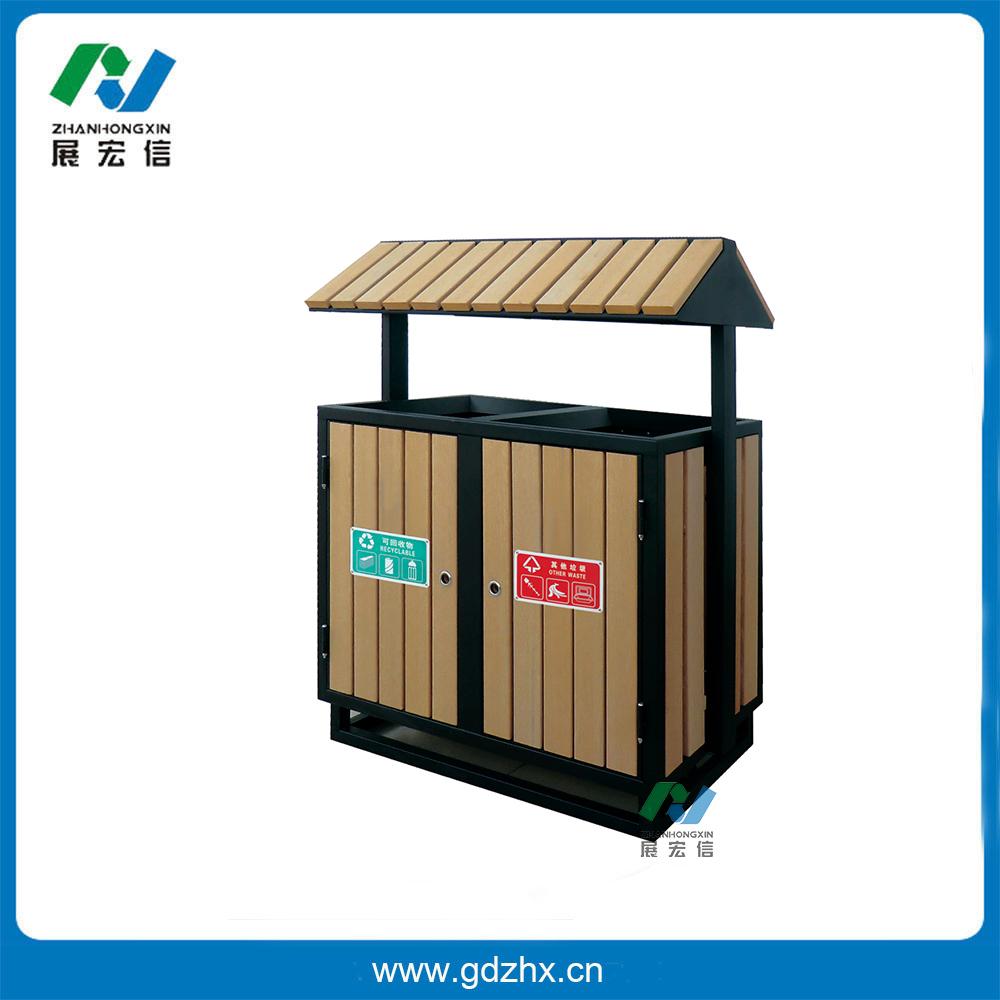 分类环保垃圾桶(咖啡色塑木、GPX-106S)