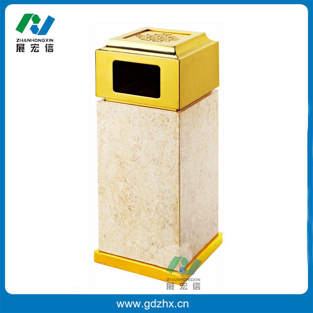 金盖座地烟灰桶(仿金花米黄石纹铁烤漆板、GPX-7D)