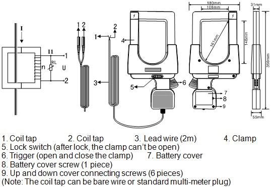 ETCR148 Super-large Caliber Clamp Leakage Current Sensor