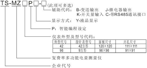 TS-MZ96PY-JKC 液晶多功能复费率监测仪